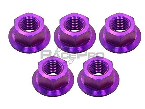 RacePro - Kawasaki ZZR1400 12 - x5 Titanium Rear Sprocket Nuts - Purple