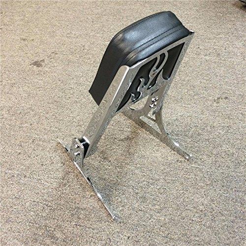 Smt- Motorcycle Chrome Flame Backrest Sissy Bar With Leather Pad For Harley Davidson Softail Flstc Flstf Flstn