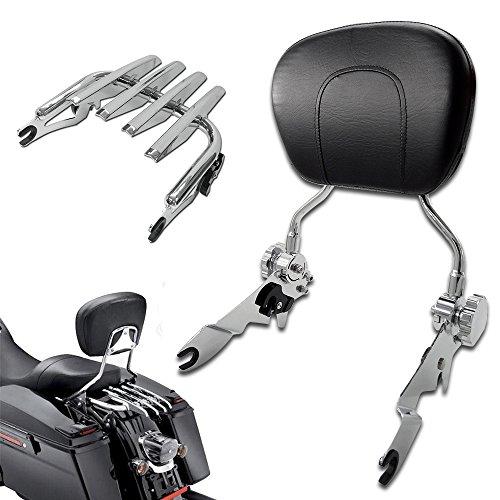 TJMOTO NEW Adjustable Detachable Chrome Backrest Sissy Bar Stealth Luggage Rack For Harley Davidson Touring 2009-2015 Electra Glide Road King Street Glide