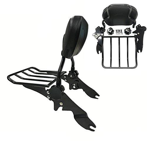 Detachables and Adjustable Backrest Sissy Bar with Luggage Rack for Harley Davidson Touring Models 2009 and up Matte Black