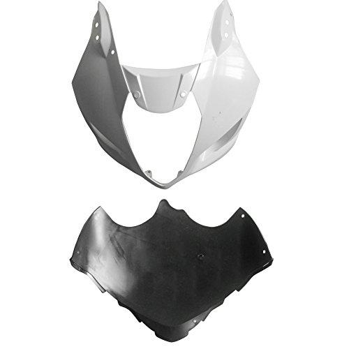 ZXMOTO ABS Plastic Front Cowl nose with Upper Fairing Splash Guard Wheel fairing for Suzuki GSXR 1000 2003 - 2004 - Unpainted