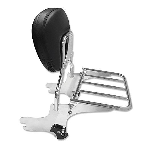Detachables Backrest Sissy Bar with Luggage Rack for Harley Davidson Touring Models 1997-2008 Chrome