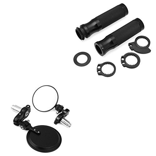 Bundle - 2 items 3 Round Convex Bar End Side Mirror 78 Handlebar Hand Grip w Throttle Black Kit For Motorcycle Sport Street Bike