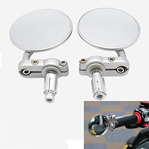 Frenshion 78 22mm Universal Motorcycle Round Side Handlebar Bar End Rear View Mirrors for Yamaha Kawasaki Honda Suzuki Motif Silver