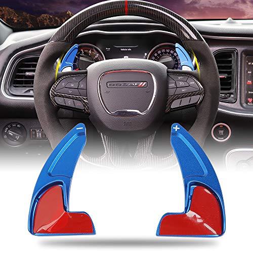 Voodonala for Challenger Steering Wheel Shift Paddle Cover Extended Shifter Trim for Dodge Challenger 2015 2016 2017 2018 2019 Aluminum Alloy Blue