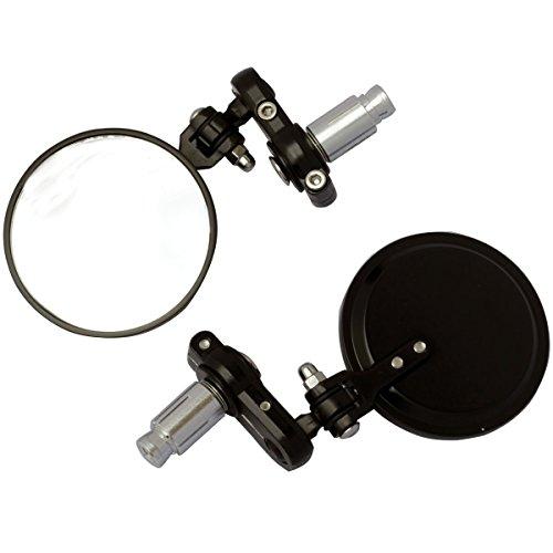 MotorToGo 3 Black Round Foldable Handle Bar Mirrors for 2008 Honda CBR600RR