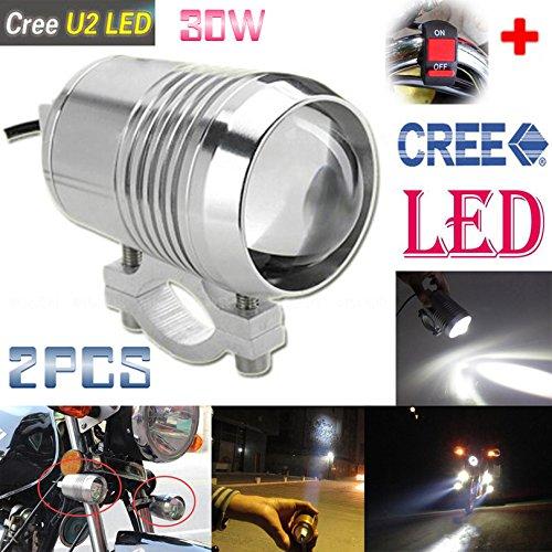 GOODKSSOP 2PCS Super Bright CREE U2 30W LED Spotlight Headlight Work Light Driving Fog Spot Lamp Universal for All Motorcycle ATV Truck With 1pcs ONOFF Button Switch