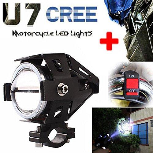 GOODKSSOP Super Bright 3000LM 125W CREE U7 LED With Blue Demon Angel Eyes Halo Ring Motorcycle Universal Headlight Work Light Driving Fog Spot Lamp  Switch Black