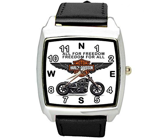 TAPORT Harley Davidson Motor Quartz Square Sport Watch Black Band  Spare Battery  Gift Bag Black