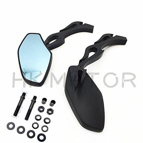 HongK- Black Motorcycle Rearview Side Mirrors For Harley Davidson Street Bike Chopper