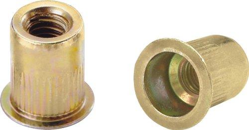 Ribbed L Series Rivet Nuts - Material Steel-Yellow Zinc Thread Size M5 x 08 ISO Grip Range 33-570mm 100 Piece Box