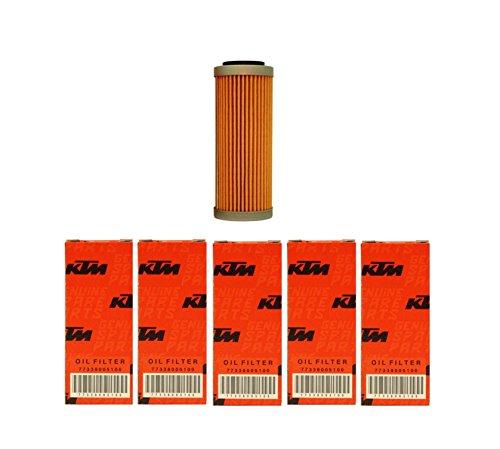 NEW OEM KTM OIL FILTERS 5 PACK 350 400 450 500 530 EXC-F SX-F XC-F XCF-W FACT ED 2008-2017 5X 77338005100