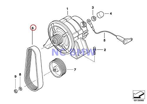 BMW Genuine Motorcycle Generator Ribbed V-Belt 4PK582 R nine T R1200GS R1200GS Adventure R1200RT R900RT R1200R HP2 Sport