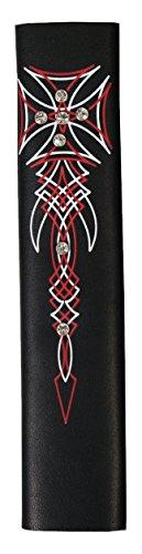 Hot Leathers Womens Iron Cross and Rhinestones Hair Glove Black 8