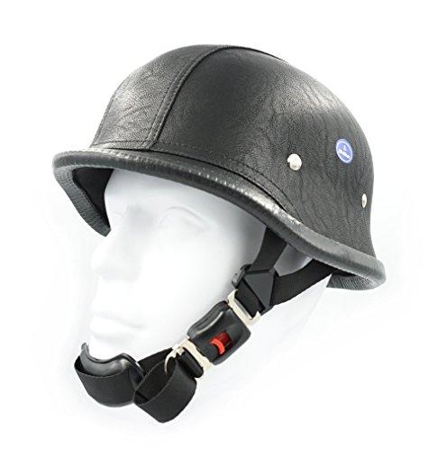 Hot Rides Classic Chopper Biker Motorcycle Helmet Novelty German Leather PU Black Small