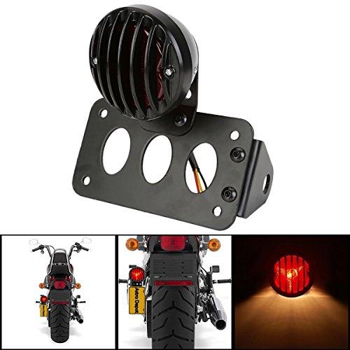 KaTur Black Motorcycle Side Mount Tail Light Brake License Plate Bracket Taillight for Suzuki Yamaha Harley Bobber Chopper
