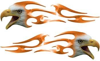 Screaming Eagle Head Tribal Flame Graphic Kit in Orange
