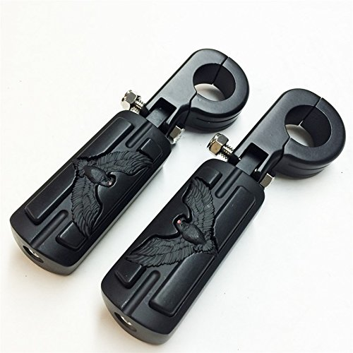 SMT Eagle Hawk Shape 1 14 Highway Stiletto 4475 Foot Pegs P-Clamps For Harley Sportster Touring Black Body Black Rubber