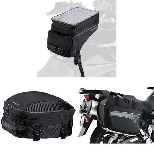 Nelson-Rigg CL-1050 Black Adventure Touring Tank Bag  CL-1060-S Black Sport TailSeat Pack  and  CL-855 Black Touring Adventure Saddlebag Bundle