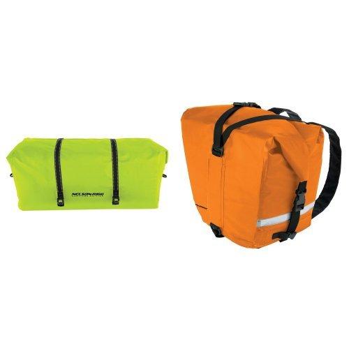 Nelson-Rigg SE-2025-HVY Hi-Visibility Yellow Large Adventure Dry Bag and  SE-2060-ORG Hi-Visibility Orange Adventure Dry Saddlebag Bundle
