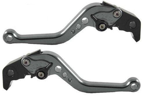 CNC Short Motorcycle Brake and Clutch Levers for Yamaha FZ6 FAZER 2004-2010FZ6R 2009-2015MT-07 2014-2015FZ-7 2014-2015MT09SRFZ9 2014-2015FZ1 FAZER 2006-2015XJR DIVERSION 2009-2015-Gray