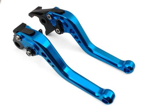 A pair of Short Billet Aluminum Clutch Brake Levers Motorcycle Set Blue for Honda CBR600 F2 F3 F4 F4i 1991 1992 1993 1994 1995 1996 1997 1998 1999 2000 2001 2002 2003 2004 2005 2006 2007 H-626F-18
