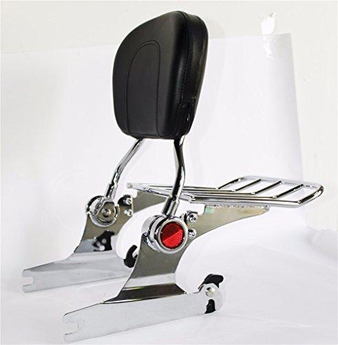 HTTMT Skull Backrest Sissy Bar Luggage Rack For Harley Softail Deluxe 2005 UP Chrome