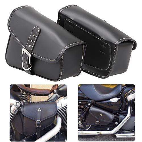 Bid4ze 2x Motorcycle Black PU Leather Saddlebags Swingarm Bag Side Tool Bags For Harley Sportster XL 883 1200 Night Rod Special Honda Yamaha