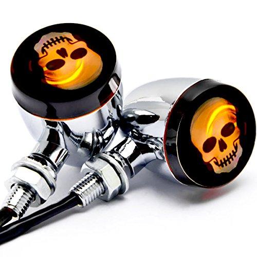 Krator 2pc Skull Lens Chrome Motorcycle Turn Signals Bulb For Harley Davidson Dyna Glide Fat Bob Street Bob