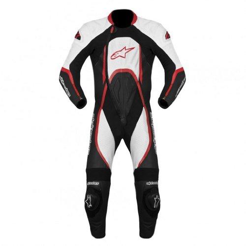 Alpinestars Orbiter Mens 1-Piece Leather Street Racing Motorcycle Race Suits - BlackWhiteRed  Size 48