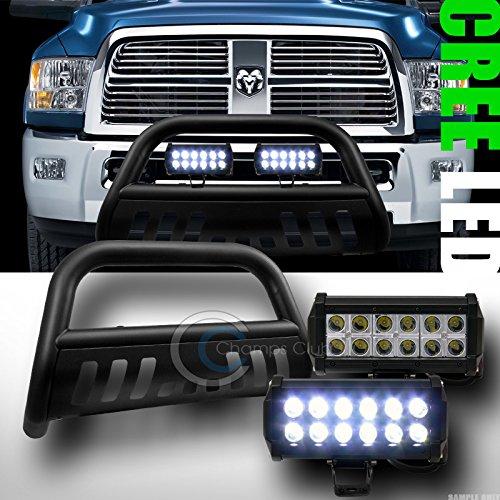 MATTE BLK BULL BAR BUMPER GRILL GUARD36W CREE LED FOG LIGHTS 2009-2014 RAM 1500
