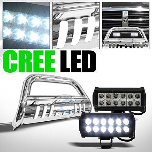 ST Racing CHROME BULL BAR BUMPER GRILL GUARD w36W CREE LED FOG LIGHTS 2008 RAM 45005500