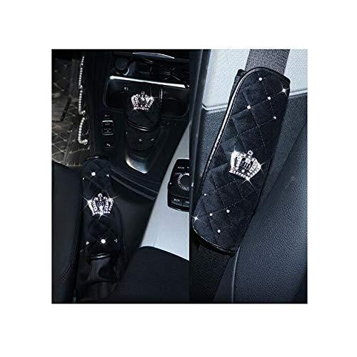 Siyibb Plush Car Handbrake Grips Cover Diamond Crown Gear Shifter Cover Seat Belt Shoulder Pad Sets - Black