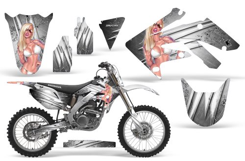 CreatorX Honda Crf 250 R Graphics Kit Decals Stickers You Rock White Incl Number Plate Graphics