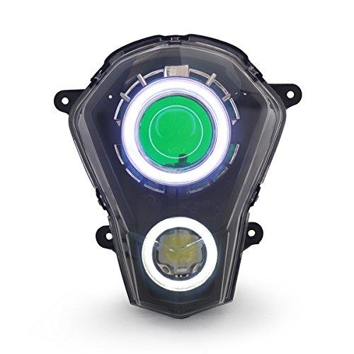 KT LED Angel Eye Headlight Assembly for KTM Duke 390 2013-2016 Green Demon Eye