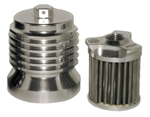 PC Racing PCS4C Stainless Steel Polished Aluminum Flo Oil Filter