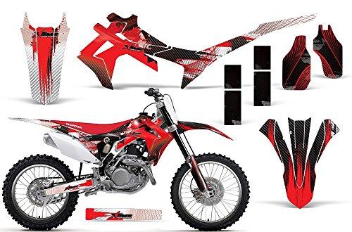 2009-2012 Honda CRF 450R AMRRACING ATV Graphics Decal Kit-Carbon X-Red