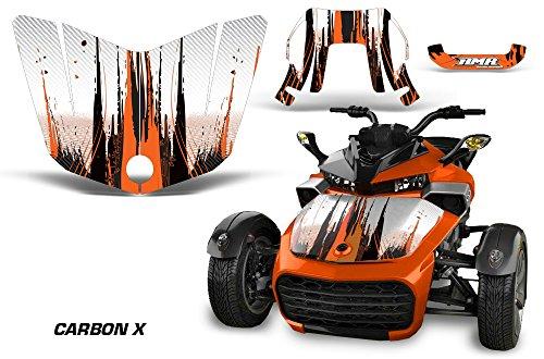 AMR Racing Graphics Can-Am Spyder F3 Roadster Vinyl Wrap Kit Hood Only - Carbon X Orange