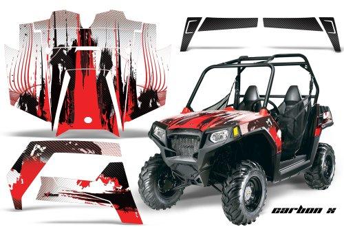 AMRRACING Polaris Ranger RZR 570 All Years Full Custom UTV Graphics Decal Kit - Carbon X Red