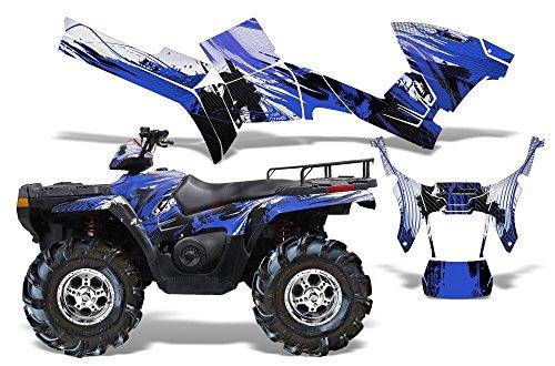 Carbon X-AMRRACING Quad Graphics decal kit fits Polaris ATV Sportsman 400500800 2005-2010-Blue