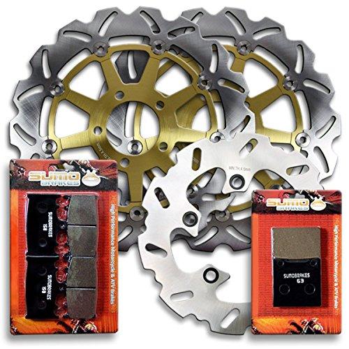 Sumo - Suzuki Front  Rear Brake Rotors Discs  Pads Combo for GSXR 600 1997-2003  GSXR 750 2000-2003  TL 1000 SVSWSXSYSK1 1997-2001 Street Bike
