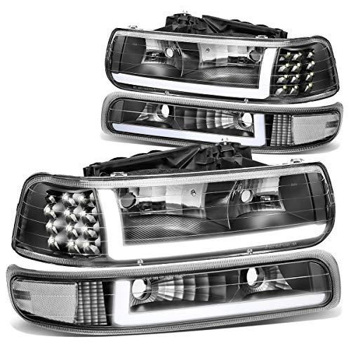 DNA MOTORING BlackClear HL-LB-CSIL99-BK-CL1 Pair LED DRL Headlight Bumper Lamps