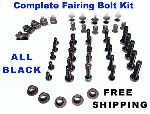 Black Complete Motorcycle Fairing Bolt Kit Suzuki GSX-R 1000 2007 - 2008 Body Screws Fasteners and Hardware