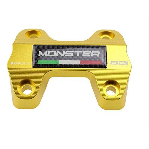 PRO-KODASKIN Motorcycle Carbon Emblem Mount Riser Handlebar Clamp for Ducati Monster 821 Gold