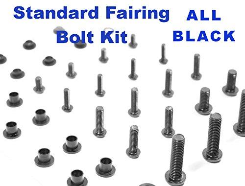 Black Standard Motorcycle Fairing Bolt Kit Yamaha 1998 - 1999 YZF-R1 Body Screws Fasteners and Hardware