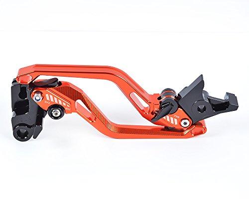 Tencasi Orange New Long Rhombus Hollow Adjustable Brake Clutch Lever for YAMAHA YZF R6 1999-2004  YZF R1 2002 2003