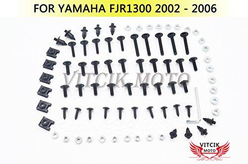 VITCIK Full Fairings Bolt Screw Kits for Yamaha FJR 1300 2002 2003 2004 2005 2006 FJR 1300 02 03 04 05 06 Motorcycle Fastener CNC Aluminium Clips Black Silver