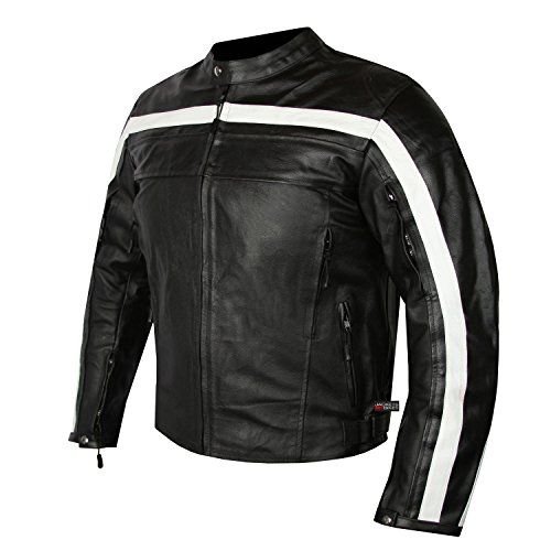 Classic Style Mens Motorcycle Leather Jacket with Armor Cowhide Black L