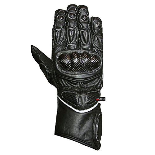 Mens Carbon Fiber Genuine Motorcycle Leather Protective Racing Biker Gloves XXL
