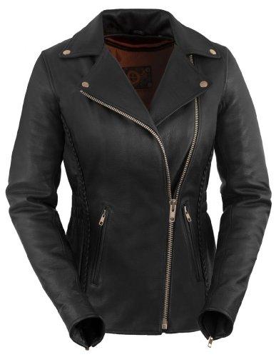 True Element Womens Premium Braided Motorcycle Leather Jacket Black Size 2XL